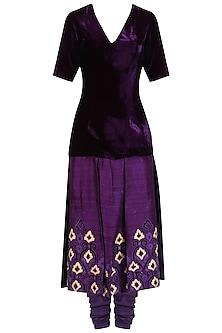 Purple Panelled Embroidered Kurta and Churidaar Set