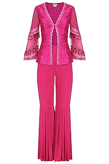 Deep Pink Embroidered Layered Jacket and Gharara Set