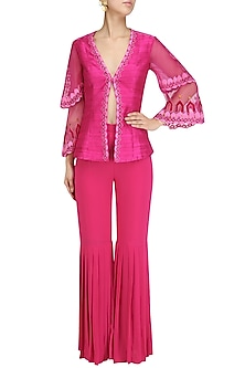 Deep Pink Embroidered Layered Jacket and Gharara Set by Chandni Sahi