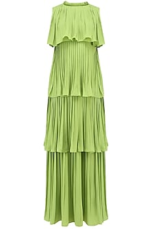 Leaf Green Layered Pleated Maxi