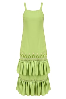 Leaf Green Applique Embroidered Dress