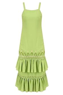 Leaf Green Applique Embroidered Dress