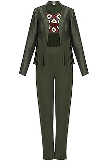 Army Green Pleated Jacket and Embroidered Blouse and Pants Set