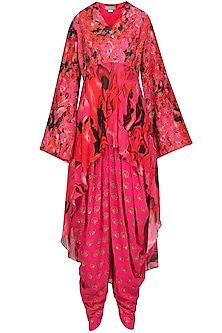 Fuschia Pink Embroidered and Printed Kurta with Dhoti Pants Set