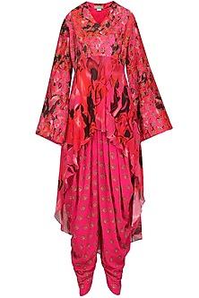 Fuschia Pink Embroidered and Printed Kurta with Dhoti Pants Set by Chandni Sahi