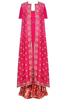 Fuschia Pink Embroidered Anarkali and Jacket with Printed Sharara Pants