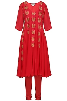Rose Red Embroidered and Printed Anarkali Set