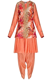 Burnt Peach Embroidered Kurta with Dhoti Pants and Printed Jacket