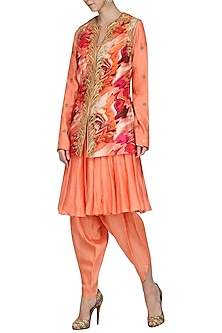 Burnt Peach Embroidered Kurta with Dhoti Pants and Printed Jacket by Chandni Sahi