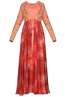 Burnt Peach Floor Length Kurta with Embroidered and Printed Jacket