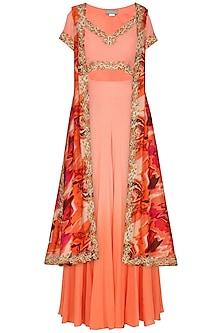 Burnt Peach Embroidered Blouse and Sharara Pants with Printed Jacket by Chandni Sahi