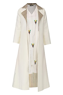Off White Shift Dress with Trench Jacket