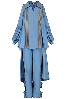 Powder Blue Embroidered Cape Shirt with Ruched Pants