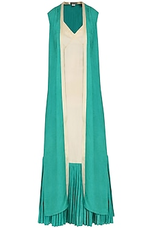 Sand Brown and Green Slip Dress with Overlay Jacket