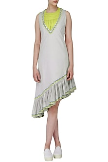 Water Grey Asymmetric Ruffled Dress with Green Ruched Top by Chandni Sahi