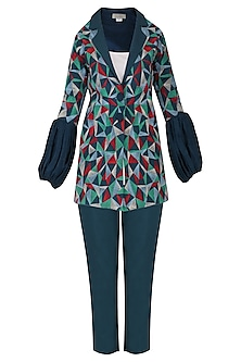 Blue Multicolor Embroidered Jacket with Pants and Inner Top