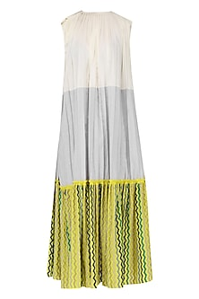 Off White, Grey and Yellow Color Blocked Pleated Dress