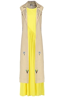 Yellow Pleated Maxi with Beige Embroidered Jacket