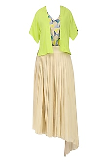 Sand Brown Pleated Skirt with Embroidered Top and Overlay Jacket