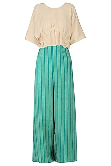 Sand Brown Ruched Top with Embroidered Palazzo Pants
