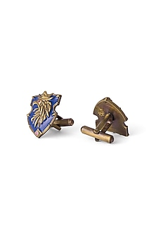 Antique Gold Finish Navy Blue Cufflinks by Cosa Nostraa