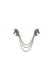 Antique Gold Finish Horse Shaped Dangling Chain Brooch by Cosa Nostraa