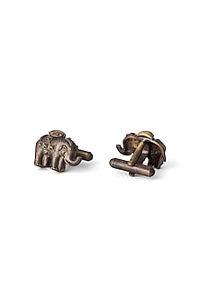 Antique Gold Finish Elephant Cufflinks by Cosa Nostraa