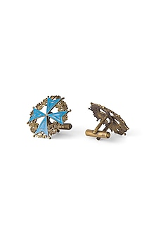 Antique Gold Finish Sky Blue Medal Of Honour Cufflinks by Cosa Nostraa