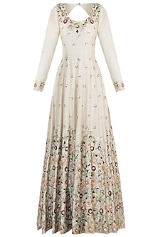 Ivory embroidered silk anarkali gown and dupatta