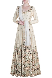 Ivory embroidered silk anarkali gown and dupatta by CAIPIROSKA