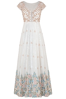Ivory embroidered anarkali gown with dupatta by CAIPIROSKA