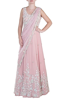 Salmon pink embroidered lehenga set by CAIPIROSKA