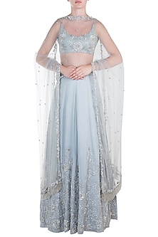 Grey embroidered satin lehenga set by CAIPIROSKA