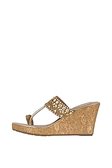 Gold Embellished Leather Wedges With 3.5 Inches Heels by Crimzon