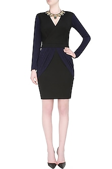 Black and navy chic affair drape panel bodycon dress by Carousel By Simran Arya