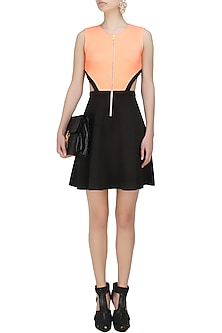 Neon peach and black cutout sport skater dress by Carousel By Simran Arya