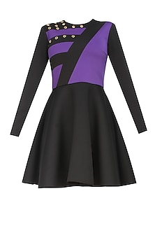 Black and purple'Lets play' colour block skater dress by Carousel By Simran Arya