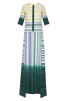White, Yellow and Green Striped Long Maxi Dress