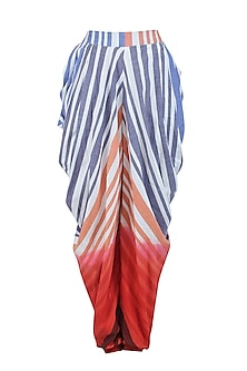 White and Red Ombre Dyed Stripes Print Dhoti Pants