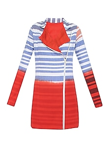 White and Red Ombre Dyed Stripes Print Jacket