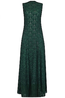Boroline Green Embroidered Long Maxi Sleeveless Dress
