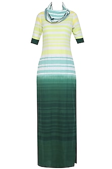 White Ombre Dyed Stripes Print Long Maxi Dress