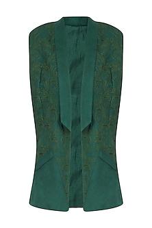 Boroline Green Cord Embroidered Sleeveless Waistcoat