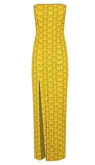 Yellow Cord Embroidered Off Shoulder Maxi Dress