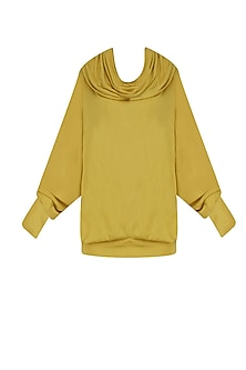 Yellow Stripes Print Long Sleeves Hooded Top