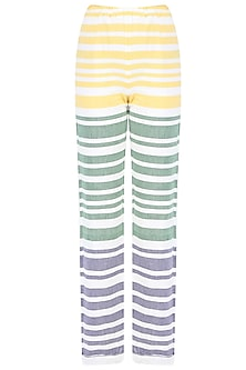 White, Yellow and Grey Striped Handwoven Pants
