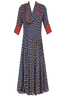 Blue Chand Printed Flared Dress