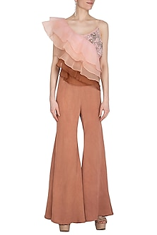 Rosewood Embroidered Ruffled Crop Top With Flared Pants by Cushy