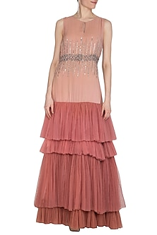 Flamingo Pink Embroidered Layered Gown by Cushy