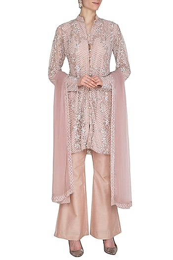 Vintage Rose Embroidered Sherwani Kurta Set by Cushy